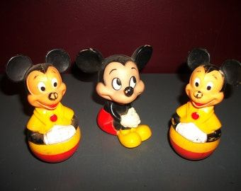 Vintage Mickey Mouse Toys Weeble Wobble and Plastic Figures