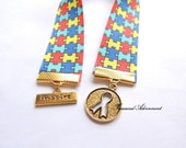 Bookmark, Autism Awareness Ribbon Bookmark, Ribbon charm, Inspire, Thank you gift for teacher, Therapist, Autism Mom, Apergers Syndrome, ASD