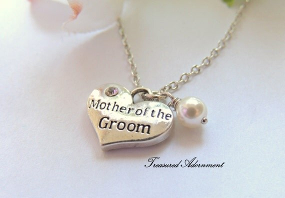 Mother Of The Groom Gift: READY To SHIP Mother Of The Groom Necklace Heart Necklace