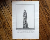 1782 PIRANESI STATUE of MELPOMENE engraving rare & important original antique Italian sculpture etching - muse of tragedy