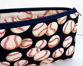 Pencil Pouch, Zippered Bag, Baseballs in Navy Blue