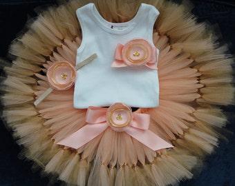 Birthday Tutu | 1st Birthday Tutu Dress | Baby Birthday Tutu | Cake Smash Tutu | Tutu Skirt | Peach Gold Birthday Tutu | 1st Birthday Tutu