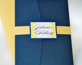 Navy Blue and Yellow Wedding Invitation Pocketfold