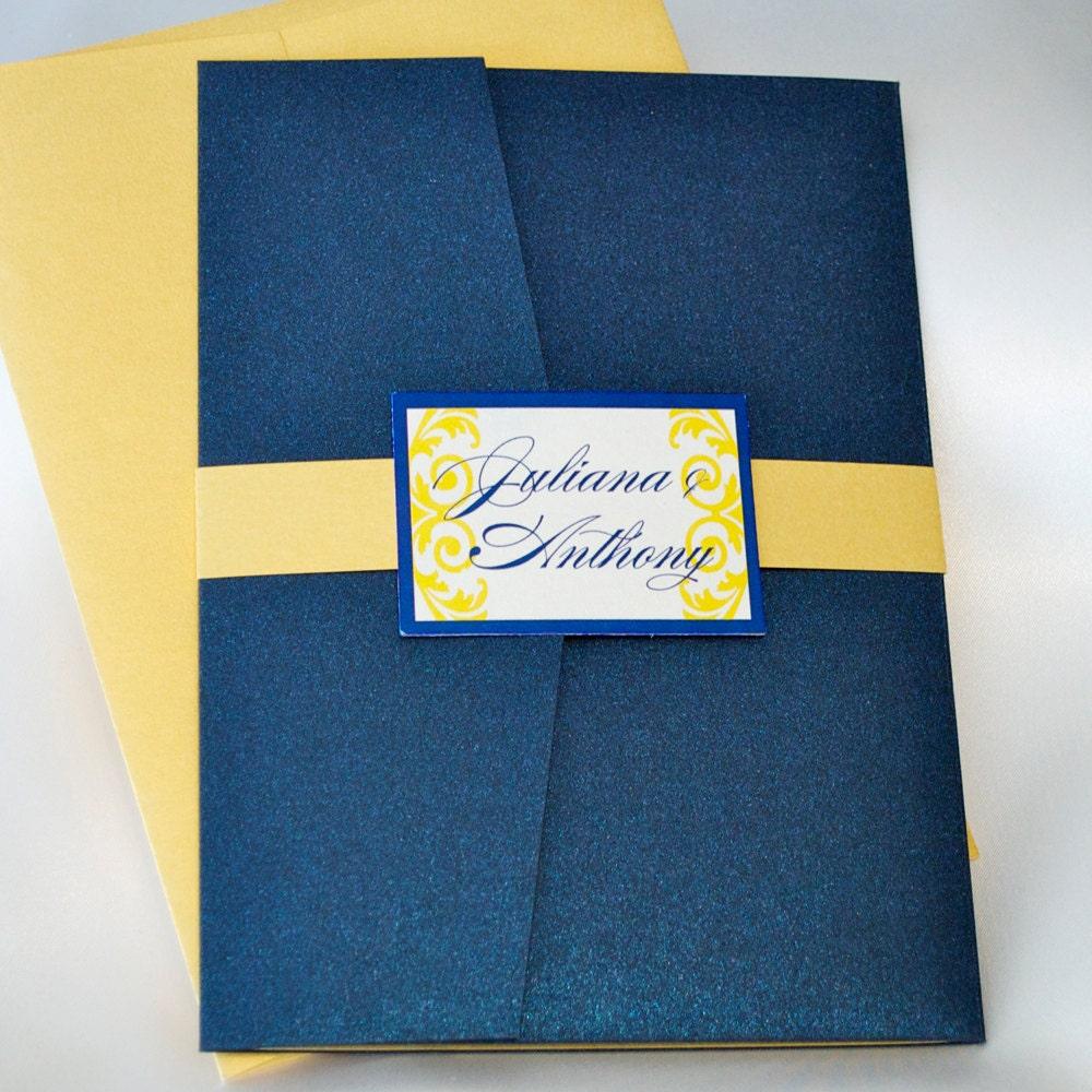Navy Blue And Yellow Wedding Invitation Pocketfold