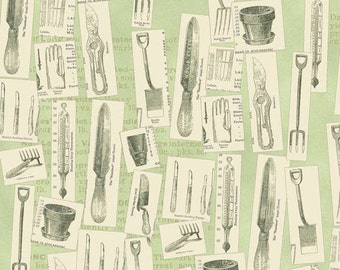 Garden Tools Fabric, 1 Yard, Vintage Seedpackets Line, Clothworks Y1661-109 Quilt Fabric, light green, green, cream