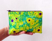 Women Zip Pouch Nr.1,  hand marbled Neon Colors cosmetic bag / travel bag / make up bag
