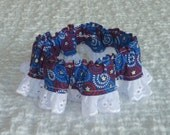 """Stars and Swirls Dog Scrunchie Collar with white lace - S - 12"""" to 14"""" neck"""
