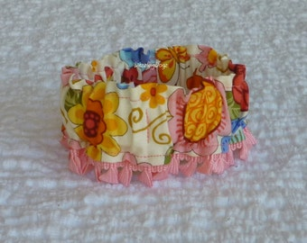 "Flowers and Butterflies Dog Scrunchie Collar with pink looped trim - Size XXS: 8"" to 10"" neck - TrY Me PRiCe"