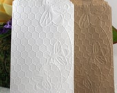 Bee Embossed Paper Bags, Glassine Bags, Wedding Favor Bags, Candy Bags, Cookie Bags, Silverware Bags, Favor Bags, Gift Wrap, Party Supplies