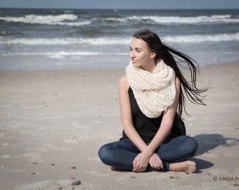 Knitted cowl, mohair, infinity scarf, light beige color