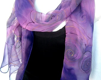 Silk Scarf, Hand Painted Silk Scarf, Abstract Swirls,Lavender Purple, Long Silk Chiffon Scarf, Gift Under 50