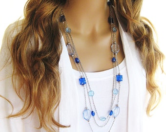 Blue Jeans Long Beaded Necklace, Silver Chain, Blue Beaded Necklace,Long Silver Chain Necklace, Blue Beads,Multi Strand Long Necklace, N-621
