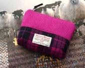 Pink HARRIS TWEED makeup bag - cosmetic bag