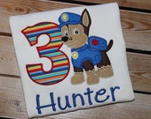 Personalized Paw Patrol Birthday Shirt with Number and Chase