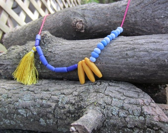Handmade Beaded Necklace, Polymer Bead Necklace with tassel in Mellow Yellow