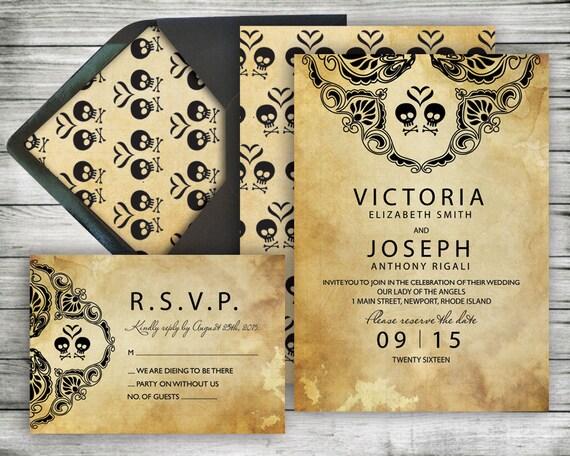 Halloween Wedding Invitation Amp RSVP Set Rustic Black Lace