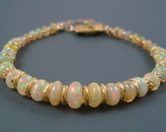 Opal Bracelet, Large Pink and Green Color Opal, Extreme Color Ethiopian Fire Opals and Vermeil Bracelet, OOAK Opal Jewelry