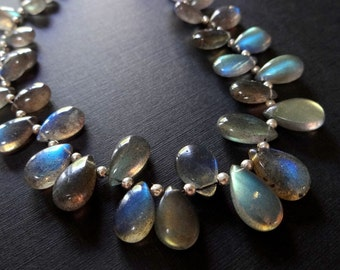 29% SALE! (Code: FROSTY) Flashy LABRADORITE Smooth Pear Briolettes, (1) Pendant Focal, Select a size, natural gemstones