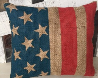 USA pillow, burlap pillow, stars and stripes, american flag pillow, home decor, 4th of july decor, july 4th decorations, porch decor,