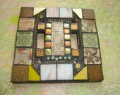 MOSAIC LIGHT SWITCH Plate Cover, Double, Earth Tones, Wall Art