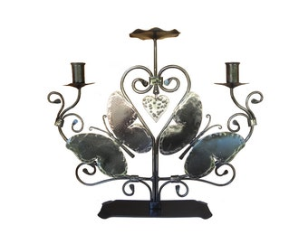 Butterflies Unity Candle Holder (  Clear and Black)
