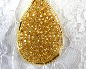 """FS613 Gold Teardrop Beaded Applique Patch 1.5""""  (FS613-gl)"""