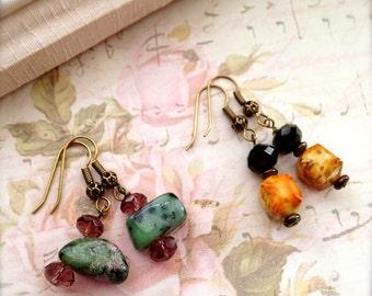 Small Bead Earrings  2 Pairs Stone Earrings Ruby Zoisite Black Onyx