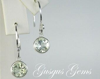 Prasiolite Earrings/Prasiolite Dangles/Prasiolite Drops/Prasiolite Silver/Green Amethyst/Green Amethyst Drops/Prasiolite 8mm