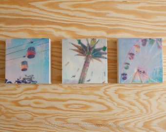 Trio of Encaustic Photography Tiny Art Ready-to-Hang Wood Blocks, Skyride, Swings, Ferris Wheel, Carnival, State Fair, Midway, 4x4 inches