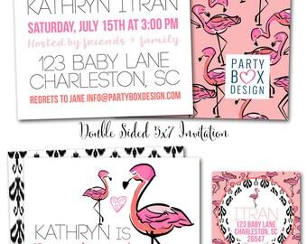 Baby Flamingo Shower Invites