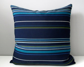 Modern Blue Striped Pillow Cover, Decorative Outdoor Pillow Cover, Indigo & Navy Blue Stripe, Sunbrella Pillow Cover Masculine Cushion Cover