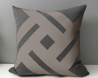 Grey & Taupe Outdoor Pillow Cover, Modern Geometric Pillow Cover, Decorative Gray Taupe Sunbrella Throw Pillow Case, Mazizmuse Cushion Cover