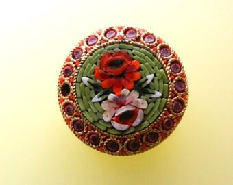 1950s Vintage Italian  - fabulous micro mosaic brooch/pin-Italian Florentine Art -Fantastic floral motif on sage green background-Art.868/3-
