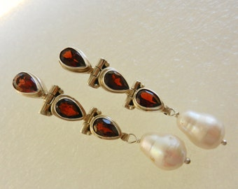 1970s long dangle garnet and natural pearl earrings - lovely color and fabulous shiny sparkle -- Art.882/3-