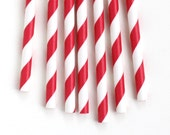 Red Paper Straws, Red Stripe Straws (25)