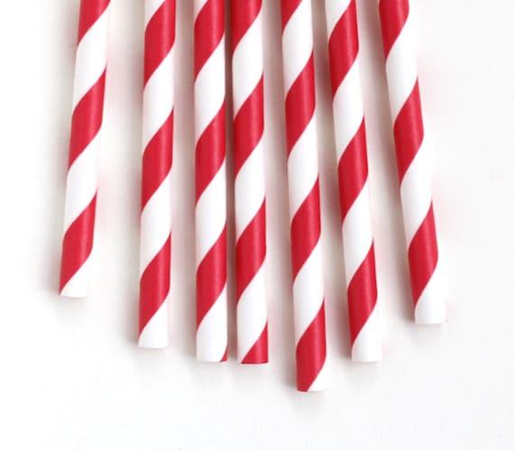 Red Paper Straws, Red Stripe Straws (25)