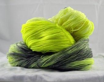 Merino Superwash Sock Yarn, , Highlighter and Graphite, Hand-dyed