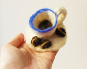 felted coffee cup brooch, eco friendly, statement brooch, wow brooch