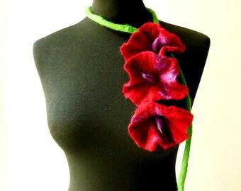 felt fiber triple dark red flowers necklace lariat, eco friendly, statement necklace
