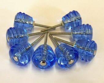 Glass Knobs 8 Ice Blue Barrel Beehive Drawer Pull 1-1/8 Inch Trim Supply Brass and Chrome Hardware