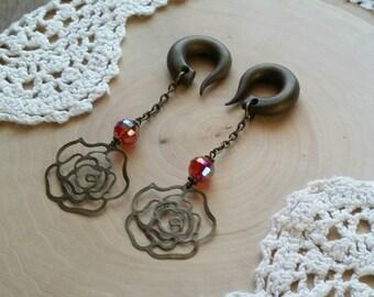 Vintage Fuchsia Iris Rose Drop Gauged Earring Plugs
