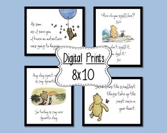 Set of 4 Classic Winnie the Pooh Quotes - 8x10, INSTANT DOWNLOAD