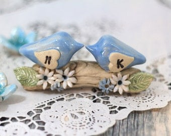 Wedding cake topper Personalized Love birds cake toppers Cake toppers for wedding Love birds wedding