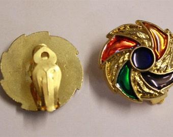 Colourful vintage pinwheel clip on earrings
