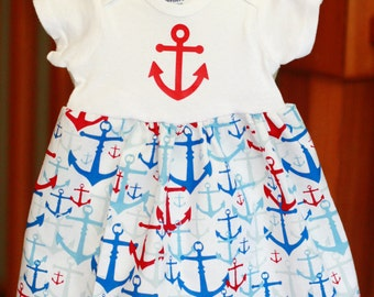 Anchor Print Onesie Dress