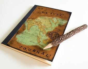 Travel journal with decoupage of Asia's map