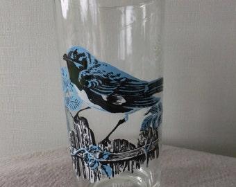 Vintage Retro Blue Warbler Bird Glass Tumbler Kitchen Collectible Glassware Wildlife Outdoors
