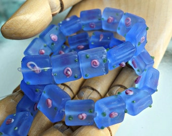 Translucent Matte Blue Square Glass Beads Pink Flowers Lot of 14