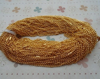 20pcs 18 inch 2.4mm gold ball necklace chain with matching connector