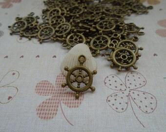 50pcs 20x15mm Rudder Antique Bronze Retro Pendant Charm For Jewelry Pendant